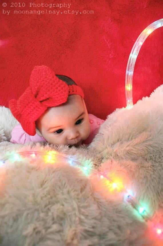 6 bis 12m-Bogen-Baby-Stirnband rote Schleife Stirnband | Etsy