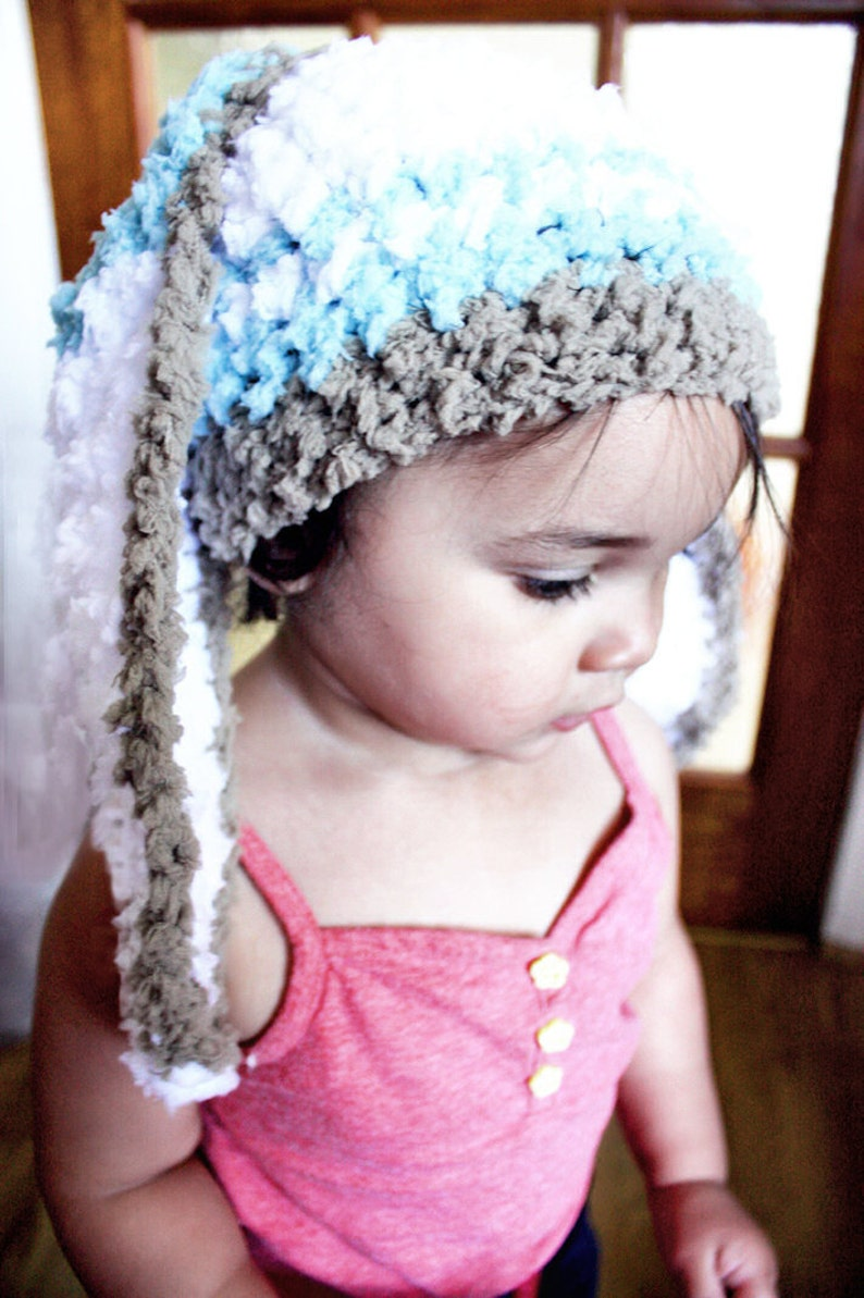 6 to 12m Spearmint Baby Hat Bunny Ears Crochet Hat Baby Brown  fee9cdbe6068