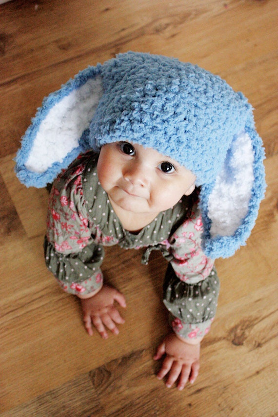 3 to 6m Baby Bunny Hat Blue Stripe Bunny Beanie Crochet Baby Hat Blue White Bunny Ears Costume Rabbit Hat Bunny Photo Prop Spring Gifts