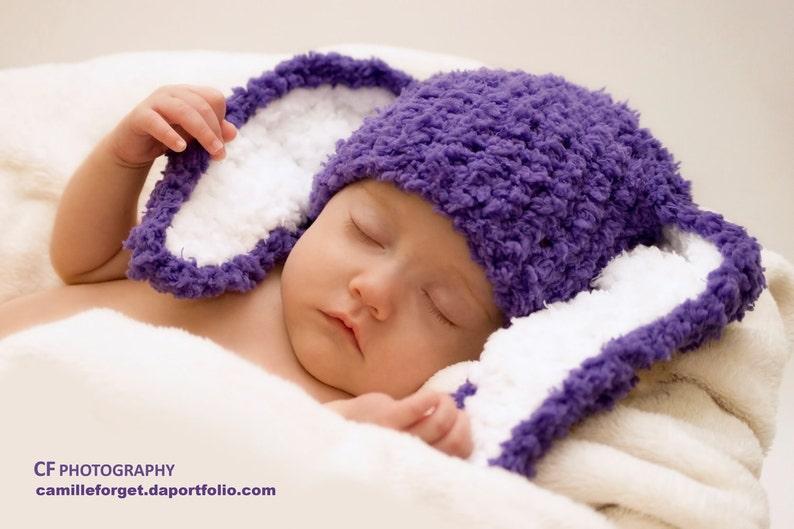 3 to 6m Purple Baby Hat Bunny Ears Purple Girl Baby Hat Purple  04b9cccd6c2b