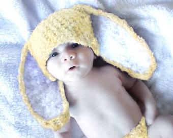 12 to 24m Yellow Baby Bunny Hat, Baby Hat Bunny Ears, Yellow Crochet Bunny Beanie, Rabbit Hat Toddler Photo Prop  , Halloween Spring Gift