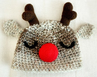 6 to 12m Christmas Baby Reindeer Hat, Red Nose Rudolph Christmas Hat, Baby Hat Christmas Reindeer Costume, Photograpy Props