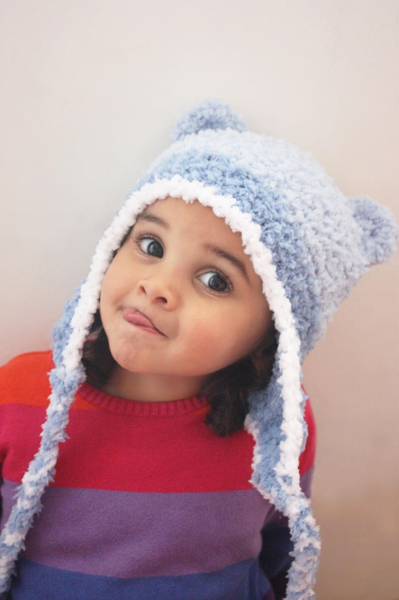 1eb8afea91216 5T to Teen Blue and White Boy Earflap Bear Ears Crochet