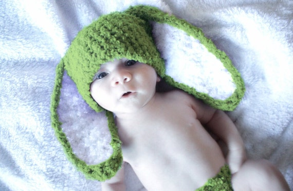 3 to 6m Baby Hat Green Bunny Rabbit Hat Green White Bunny  1f3f741c14a3