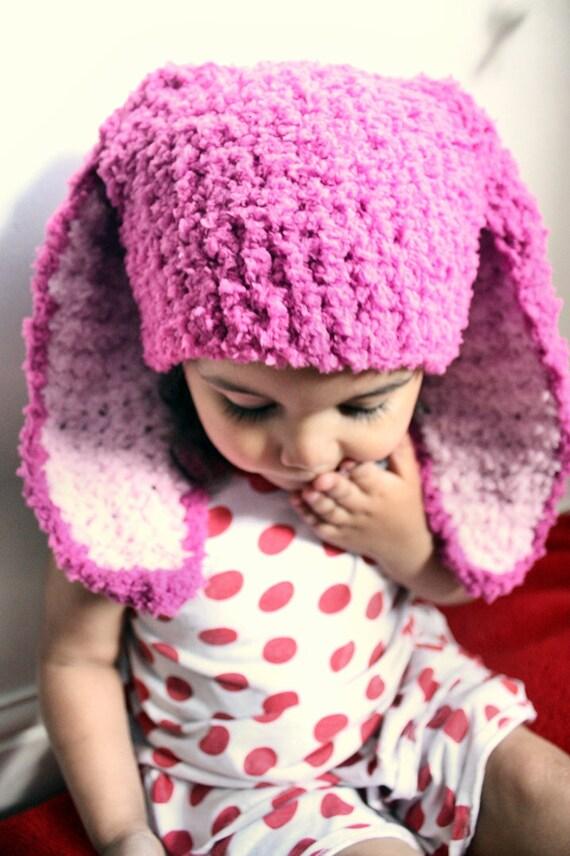 12 Bis 24m Himbeere Rosa Baby Bunny Mütze Häkeln Baby Mädchen Etsy