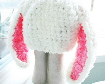 0 to 3m Newborn Baby Bunny Hat Baby Shower Gift Crochet Bunny Ears Crochet Hat Beanie Baby Hat Cream Pink Rabbit Photo Prop, Spring Gifts