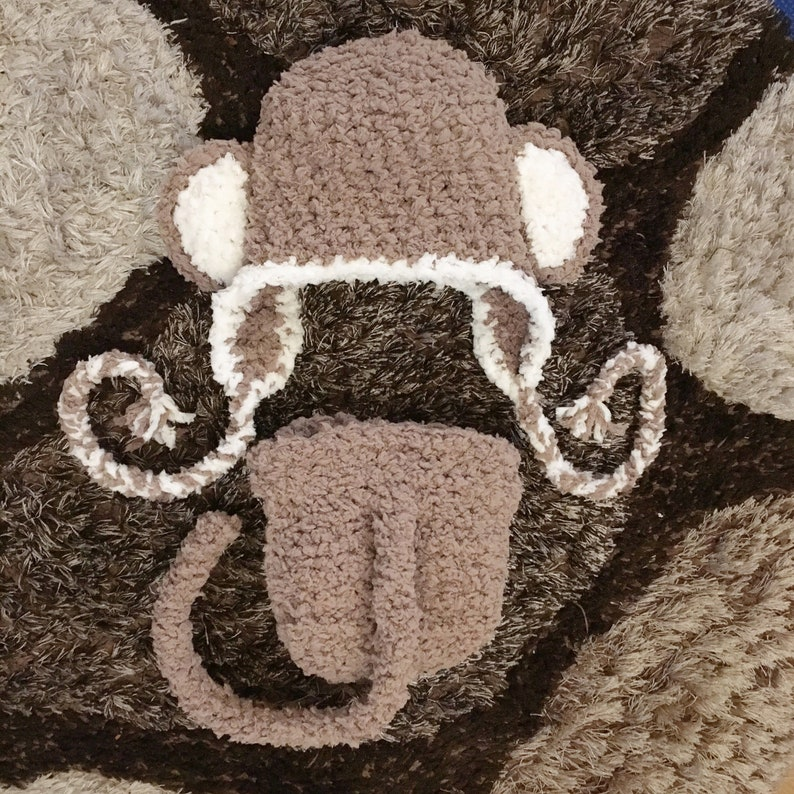 12 to 24m Monkey Baby Hat Diaper Cover Set Crochet Baby Monkey Hat Earflap Baby Monkey Hat Set Photo Prop Brown Hat Christmas  Baby Gift