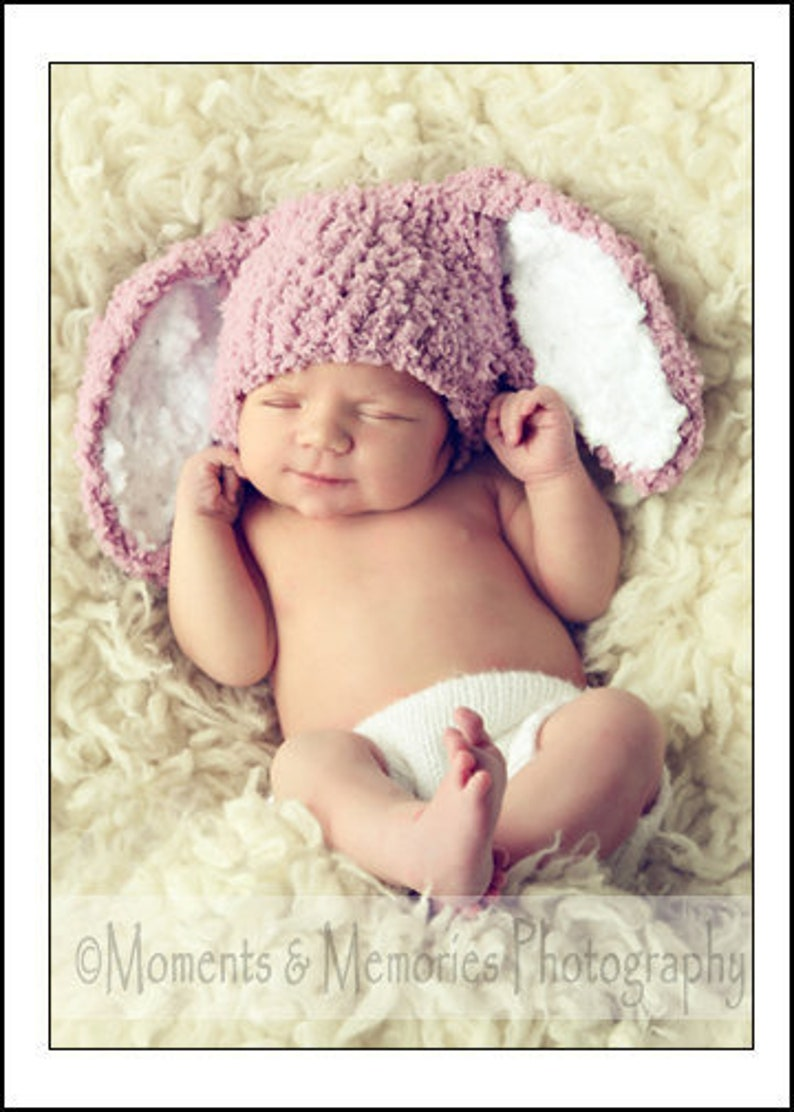 1285751d7 0 to 3m Newborn Girl Baby Bunny Hat, Crochet Infant Rabbit Ears Sitter  Prop, Rose Pink Woodland Animal Beanie, Easter Costume Spring Gift