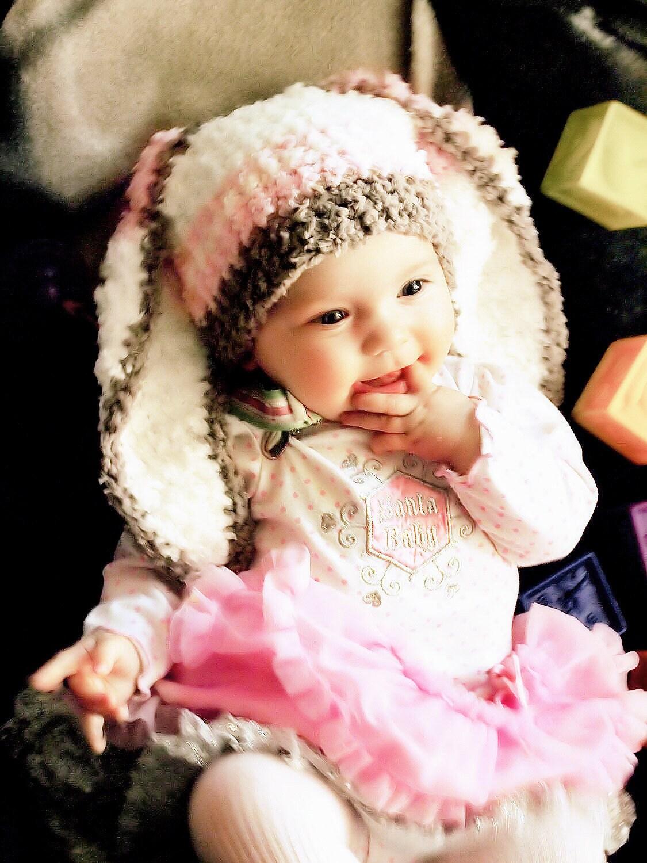 3 bis 6m Baby Streifen Bunny Mütze häkeln Mädchen Hasenohren