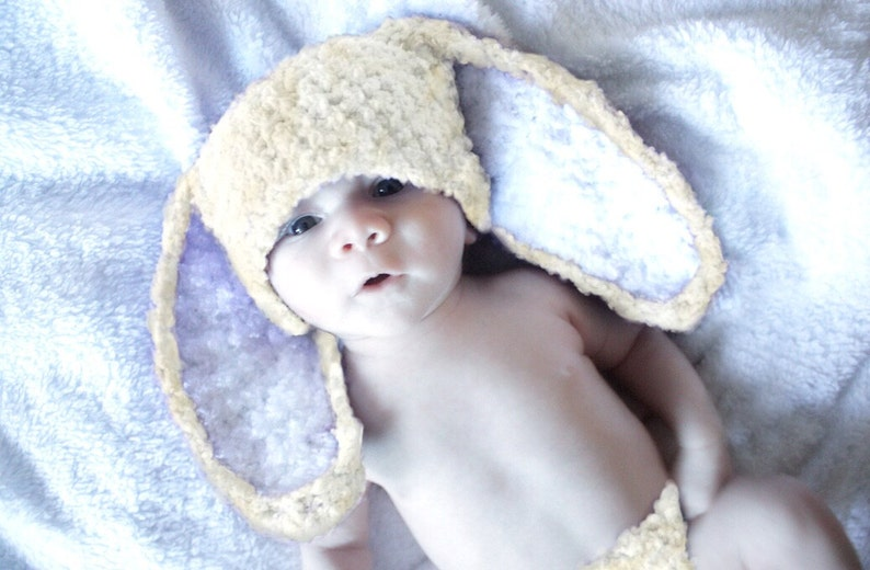 c79c8150a 0 to 3m Bunny Ears Crochet Newborn Baby Hat, Neutral Cream Rabbit Beanie,  Boys and Girls Spring Infant Prop, Animal Costume Hat for Kids