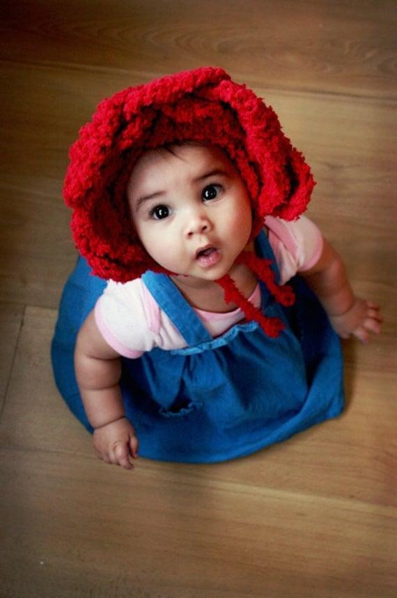 3 To 6m Baby Red Rose Flower Hat Infant Bonnet Kids Gift Etsy