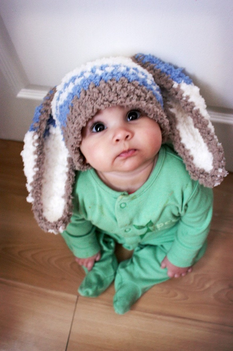 Crochet Unisex Men and Womens Rabbit Spring Beanie Gift Adult Size Blue Stripe Bunny Ears Hat Big Chunky Easter Woodland Cosplay Costume