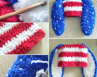 0 to 3m Newborn 4th July Baby Bunny Hat, Baby Shower Gift Crochet Baby Hat, Bunny Ears Red White Blue Star American Flag Hat Crochet Hat