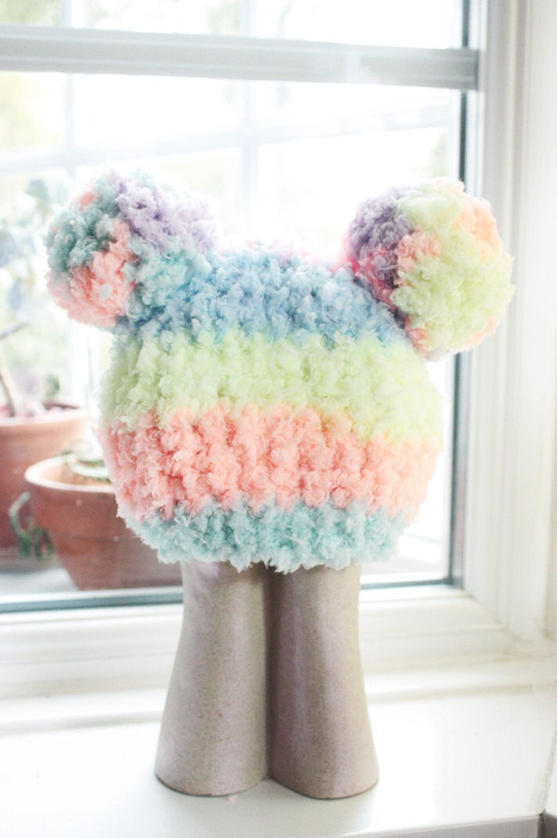 85758958e04 0 to 3m Newborn Rainbow Baby PomPom Hat Crochet Double Pom