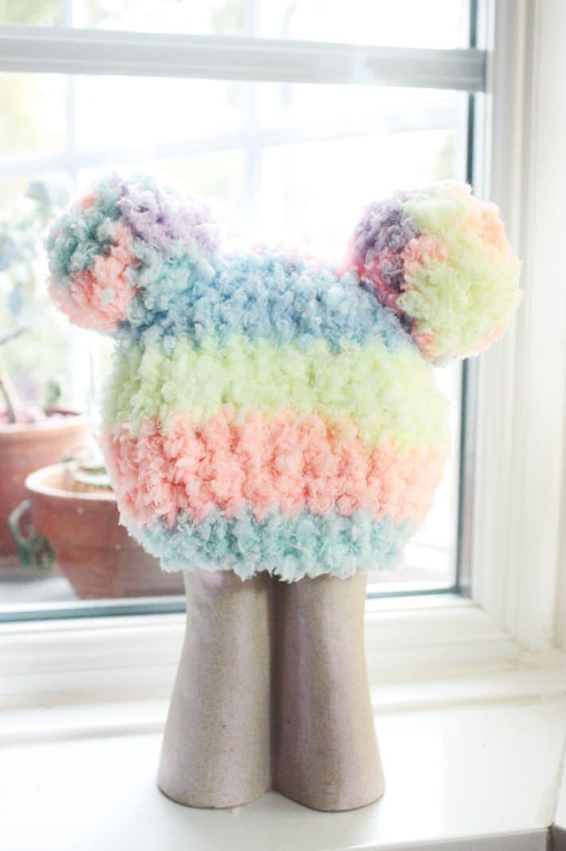 5f5871d7023 0 to 3m Newborn Rainbow Baby PomPom Hat Crochet Double Pom
