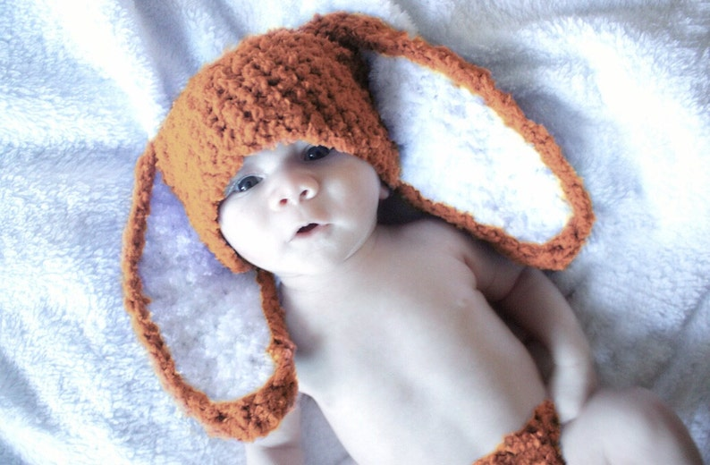 6ba6a351c 0 to 3m Newborn Baby Bunny Ears Hat Infant Photo Prop in Orange and White,  Crochet Baby Hat Spring costume Beanie for Baby Boys and Girls