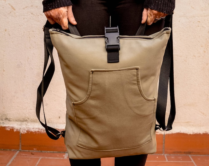 Green ish Beige Utility Backpack, Cotton Rucksack , Everyday Backpack