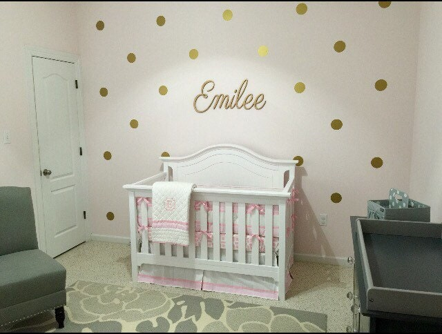 gold and pink nursery-wall polka dots-wall decals girl | etsy