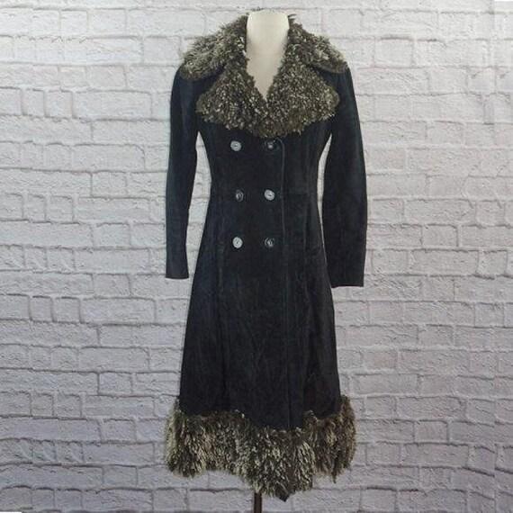 Vintage 70s Suede Curly Lamb Penny Lane Coat - image 2