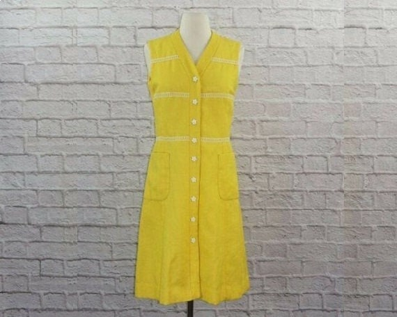 0-3m Yellow Vintage Dress Lace Daisy Flowers VTG