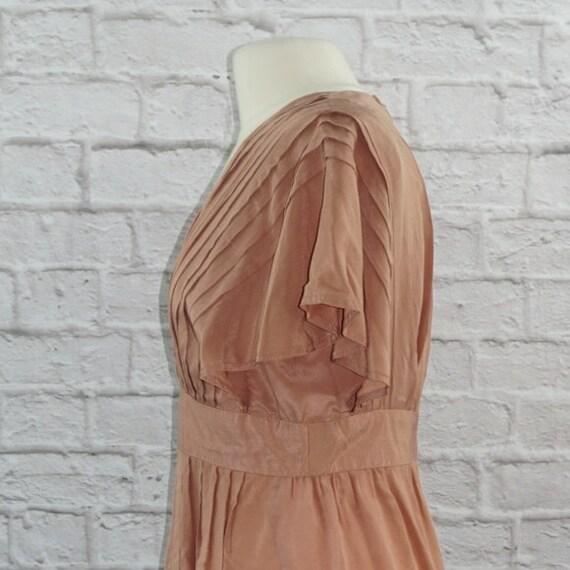Vintage 40s Silk Pink Mauve Dress Large - image 3