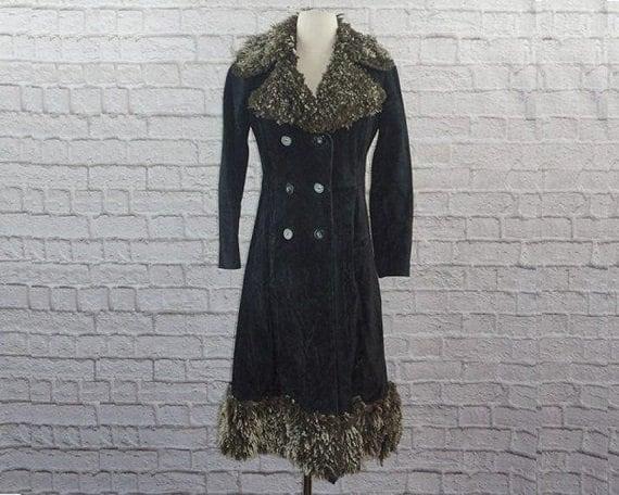 Vintage 70s Suede Curly Lamb Penny Lane Coat - image 1