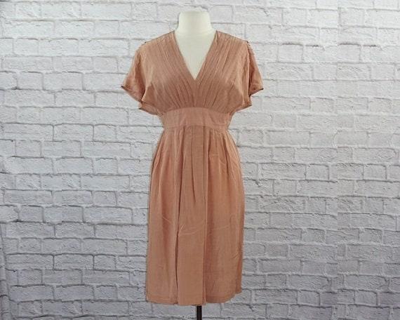 Vintage 40s Silk Pink Mauve Dress Large - image 1