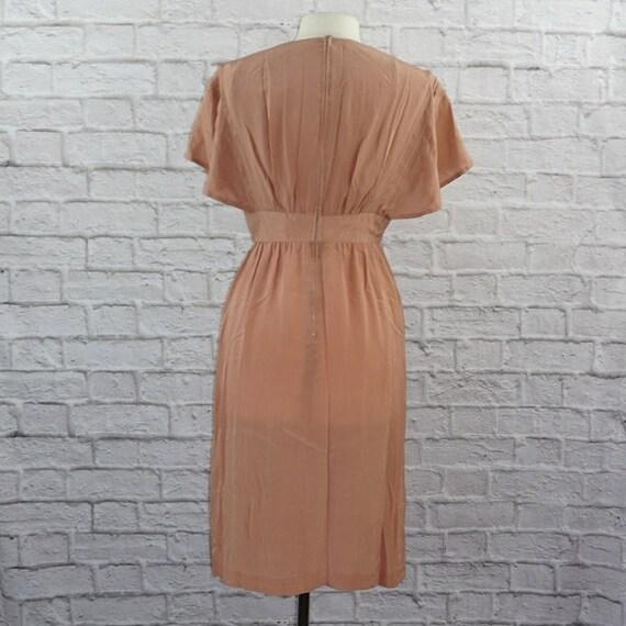 Vintage 40s Silk Pink Mauve Dress Large - image 4