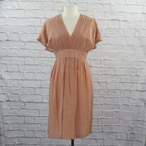 Vintage 40s Silk Pink Mauve Dress Large