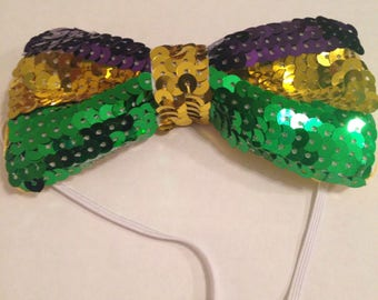 Sequin Mardi Gras Bow Tie