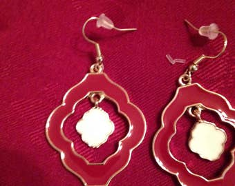 Red and White Dangle Earrings