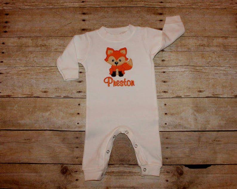 Boys Shower Gift Monogrammed Onesie Monogram Baby Receiving Blanket Fox Bodysuit Fox Onesie Personalized Onesie Baby Boy Layette