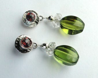 Green Amber ans Silver earrings.