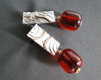 Cherry Amber and silver earrings
