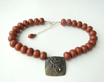 Copal and Brass Necklace