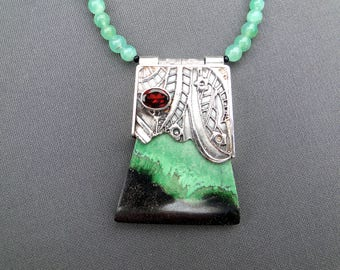 Zen Fused Silver and Garnet necklace