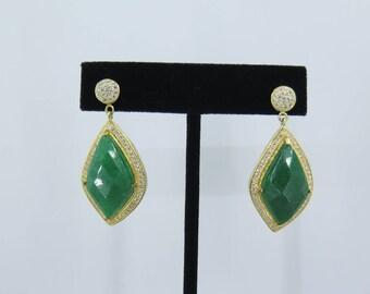 Handmade, Green Jade Earrings Dangle stud