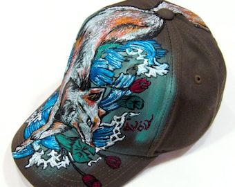 Hand Painted Wicker Hat Floral Painted Hat Gender Fluid Summer Hat Size 21