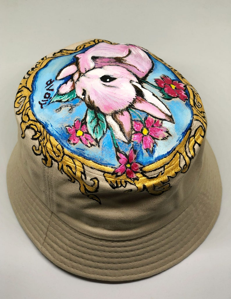 519c335d9 Kids Bucket Hat Handpainted Floral Bunny with Khaki Base fit from 2 Years  to 6 Years