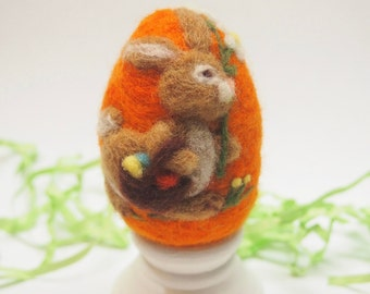 Needle Felted Egg - Easter Bunny - Easter Egg