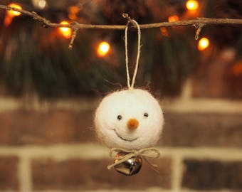 Jingle Bell Snowball Ornament / Needle Felted Snowman / Wool Felt Ball / Felted Wool Snowman Ornament