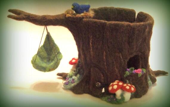 Baumhaus-Skulptur Nadel gefilzt Baumstumpf Gnome Home / | Etsy