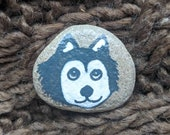 Painted rock rock - husky - painted dog - option to add magnet - dog face - beach rock - dog lover - refrigerator magnet -pebble art