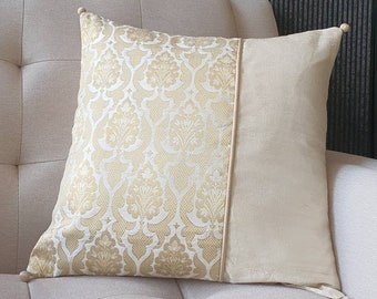Elegant Ivory and Gold Brocade Pillow Cover , Gold and Ivory Brocade Cushion Cover , Decor Pillow Cover , Off White Brocade Pillow , White