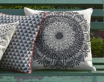 Black Mandala Embroidery on Cotton Linen Pillow Cover , Black Embroidered Cushion Cover , Black and Natural Embroidered Linen Pillow Cover