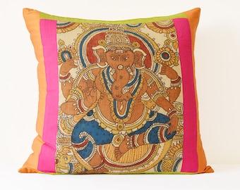 Hand Painted Kalamkari Cushion Cover depicting Lord Ganesha , Decor Pillow , Kalamkari Pillow , Hand Painted Pillow , Throw Pillow