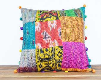 Bright Vintage Kantha Decorative Pillow Cover with Potli Pom Poms All Around , Kantha Cushion Cover with Pom Poms , Kantha Decorative Pillow