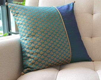 Bright Teal and Gold Patchwork Brocade Pillow Cover , Teal Brocade Cushion Cover , Decor Pillow Cover , Teal Brocade Pillow