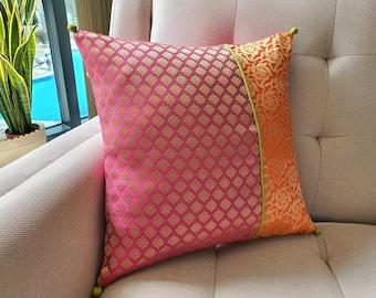 Bright Orange and Dark Pink Brocade Pillow Cover , Pink Brocade Cushion Cover , Decor Pillow Cover , Fuchsia Brocade Pillow
