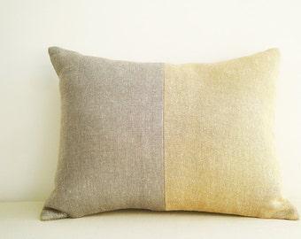 Silver Gold Metallic Pillow Cover , Lumbar , Holiday Decor , Shimmer Pillow , Decorative Pillow , Throw Pillow , Cushion Cover